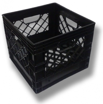 Black square milk crate