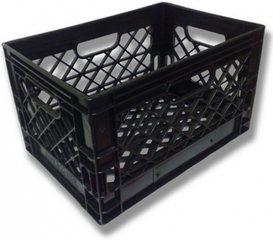 Black rectangle milk crate