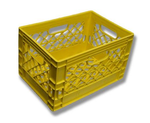 blue rectangle milk crate yellow rectangle milk crate